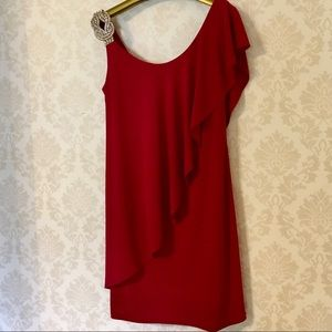 Deep red dress with jeweled shoulder with draping
